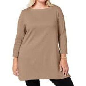 Karen Scott Womens Plus Cotton Boatneck Tunic Top